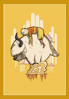 Aang and Appa. Aang and Appa. Art Prints, Drawings, Art, Avatar Cartoon, Anime, Avatar Airbender, Cartoon, Fan Art, Poster
