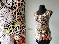 Beige Freeform Crochet Blouse Irish Crochet Lace por MARTINELI