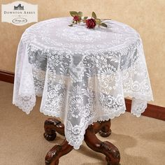 Grantham Lace Table Topper White 42 x 42