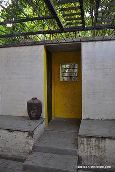 Colour block at Sangath - Doshi Studio Colour Block, Color Blocking, Indian Interiors, Ahmedabad, Entrance, House Design, Spaces, Explore, Studio