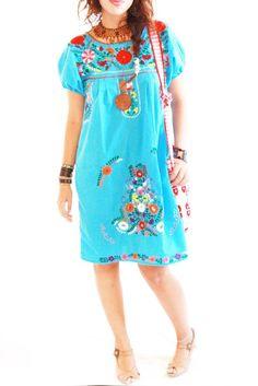 El Mar ocean blue gypsy boho chic embroidered Mexican dress puff sleeves by AidaCoronado on Etsy https://www.etsy.com/listing/59975947/el-mar-ocean-blue-gypsy-boho-chic