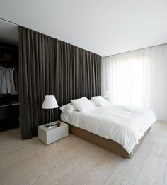 How To Create Dreamy Bedrooms Using Bed curtains bedroom – curtains divide space (see rest of home) – good idea for boys room – maybe [. Closet Behind Bed, Curtains Behind Bed, Bed Curtains, Closet Curtains, Camo Curtains, Canopy Beds, Curtain Wardrobe Doors, Window Behind Bed, Shear Curtains