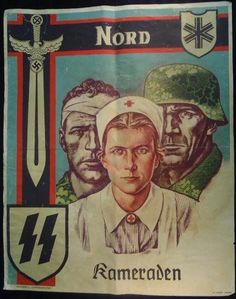 """""""Kameraden"""" German WWII Waffen propaganda/recruiting poster of 6th SS Mountain Division Nord"""