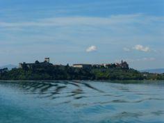 Castiglione del Lago, view from the ferry boat to Isola Maggiore