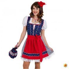Dirndl Franzi blau-rot, Kleid inkl. Bluse und Schürze. Krause   Sohn GmbH · Oktoberfest  Kostüme c5fbbaf211