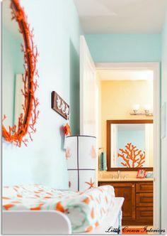 Aqua and Orange Beach Boy's Nursery - contemporary - kids - orange county - Little Crown Interiors