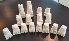 Lot of 16 Chess white Marble Carved Stone Aztec Mayan Style Replacement pieces #Handmade