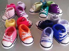 converse bebé 0-3; 3-6; 6-9meses  hilo,lana crochet