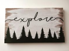 Explore wood sign, hand painted wood sign, perfect for home decor or nursery decor, travel sign, nature sign Home Decor paintings for home decor Simple Canvas Paintings, Easy Canvas Painting, Cute Paintings, Diy Canvas Art, Wood Canvas, Home Decor Paintings, Diy Painting, Painting On Wood, Wood Art