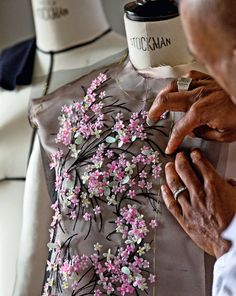 Dior ~ Haute Couture embroidery for a floral embellished dress| Christian Dior