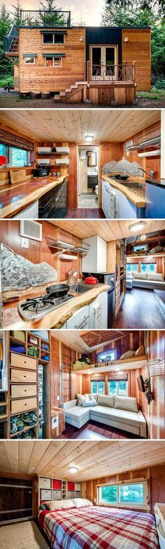 The Basecamp: a tiny house designed by two engineers. The home is built to accommodate plenty of hiking gear and the couple's three dogs. They're currently selling plans for the home on their website!
