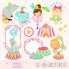 Circus Girl Animals Clipart Carnivale Party Girly Circus Clip Art Elephant Bear Lion Monkey Seal Circus Frame by Printingaparty on Etsy https://www.etsy.com/listing/258265172/circus-girl-animals-clipart-carnivale