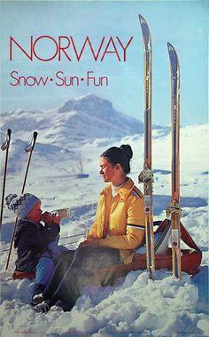 Norway - Snow Sun Fun - 1973 Designer: Photo by A. History Of Norway, Norway Travel, Travel Europe, Vintage Ski Posters, Nordic Skiing, Retro Graphic Design, Ski Season, Retro Illustration, Vintage Winter