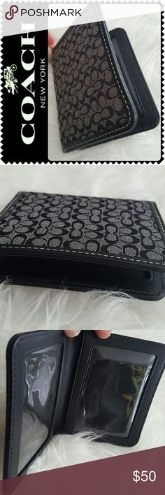 Coach Cards Case New Coach Signature Cards Case in Canvas and Leather Trimming, Classic Black with Iconic Coach Print! Interior has Plastic Covering for 2 Separate Compartments, Lightweight and Handy to Bring Your Cards With! Approx Size 4Hx3.5W inches, New without tag Coach Bags