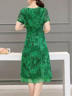 Green A-line Casual Midi Dress