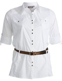 60ce8fee936c Chemise manches longues + ceinture Grande taille femme - KIABI - 19€99