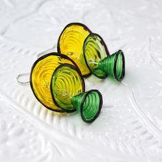 Yellowgreen bells lampwork earrings by KatyaGlass on Etsy, $27.00