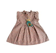 VINTAGE 60's / enfant / robe d'été / tissu fleuri / fabriquée en France / stock ancien neuf / taille 1 an et 18 mois