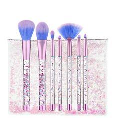 7Pcs/Set Glitter Mermaid Liquid Handle Makeup Brushes Set Eyeshadow Powder Blush Brush