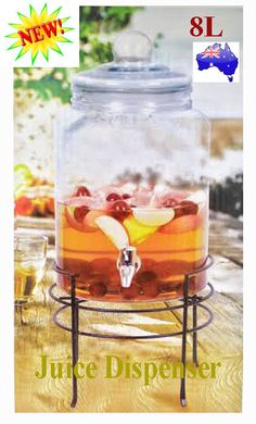 8L NEW Glass Beverage Juice Beer Drink Dispenser Jar With Stand For Event Party - $40