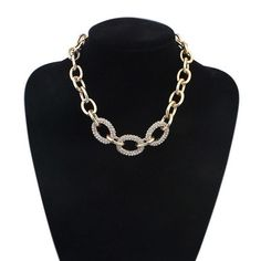 2015 New Arrival Charme Kolye Women Crystal Choker Necklace Gold Chain Chunky Statement Necklaces Handmade Jewelry Wholesale