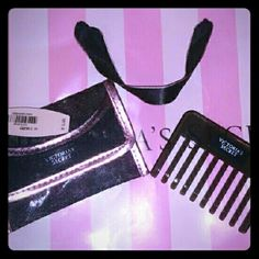 VS Travel Comb w/case Black w/metallic PINK trim Snap Closure NWT BUNDLE & SAVE!!! Victoria's Secret Accessories Hair Accessories