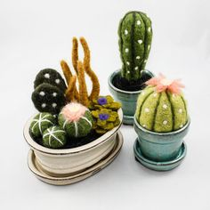 Felted Cactus Garden (Large) - So cute and totally impervious to my black thumb! Felted Cactus Garden by OnceAgainSam on Etsy Best - Felt Crafts, Kids Crafts, Diy And Crafts, Wet Felting, Needle Felting, Diy Laine, Cactus Craft, Cactus Decor, Felt Succulents