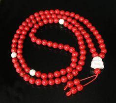 108 Turquoise Red White Ball & White Buddha Beads Buddhist Prayer Mala Necklace