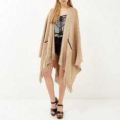 Cream fine knitted fringed cape