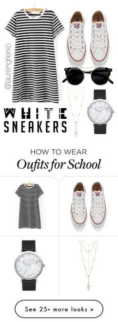 """school"" by laurengrierxo on Polyvore featuring WithChic, Converse, House of Harlow 1960 and Elwood"