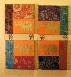Four Matching Elephant Lokta Mini Canvases, Cute Little Canvas Set, Baby Elephants, Decoupage Art Collage Canvas Art Projects, Diy Canvas Art, Painting Canvas, Diy Painting, Best Canvas, Mini Canvas, Elephant Wall Decor, Elephant Art, Robot Concept Art