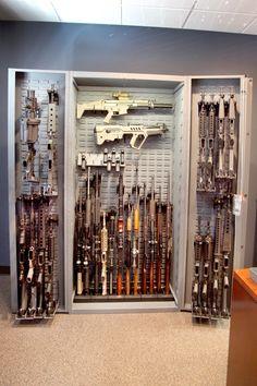 Versatile firearm storage - vertical and horizontal gun racks. #gunsafe #gunstorage