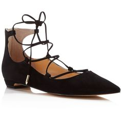 Ivanka Trump Tropica Pointed Toe Lace Up Flats ($145) ❤ liked on Polyvore featuring shoes, flats, shoes flats, black, black suede flats, ballet flats, suede ballet flats, black ballet flats and suede flats