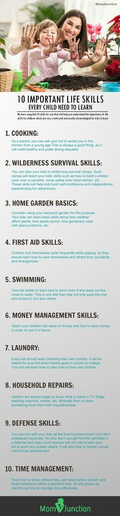 10 Important Life Skills Every Child Should Know. This is a great list of skills. A lot of them are fun to learn, and provide excellent bonding opportunities.