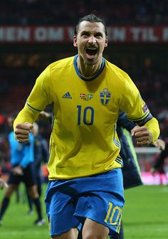 #EURO2016 Zlatan Ibrahimovic of Sweden celebrates after the UEFA EURO 2016 Qualifier PlayOff Second Leg match between Denmark and Sweden at Parken Stadium on...