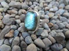 Labradorite ring, size 6 3/4, #351..this is a shimmering light green to blue stone by Sandy River Jewelry
