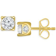 TruMiracle Diamond Stud Earrings (3/8 ct. t.w.) in 14k White Gold or... ($390) ❤ liked on Polyvore featuring jewelry, earrings, yellow gold, stud earrings, white gold earrings, gold stud earrings, 14k stud earrings and white gold stud earrings