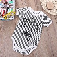 Mama | Hot Selling Baby Boys Girls Print Milk Belly Romper Short Sleeve Bodysuit Playsuit Outfits Clothing 0-24M