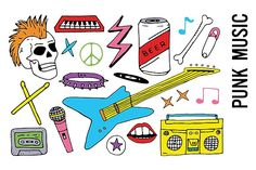 Punk Music Band Doodles by Pepper on @creativemarket