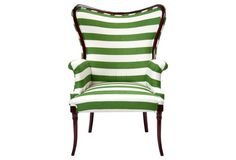 Striped Wingback Chair