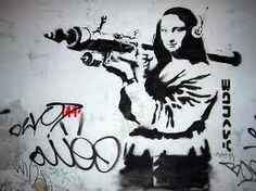 sokak banking Graffiti Mixed Media - Banksy Mona Lisa With Rocket Launcher by Graffiti Street Art Banksy Graffiti, Street Art Banksy, Banksy Posters, Banksy Artwork, Bansky, Graffiti Wall Art, Banksy Canvas, Graffiti Artists, Graffiti Lettering