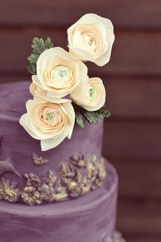 Sugar ranunculus detail on plum colored cake with bas relief and gold dust. Colorful Cakes, Plum Color, Cake Shop, Ranunculus, Custom Cakes, Let Them Eat Cake, Wedding Cakes, Sugar, Cookies