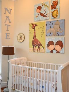 Wall art is not only one of the most essential parts of decorating for your child, but one of the most exciting. For this room we created a zoo theme simply by adding animal canvases. So many talented artists reproduce their artwork in this affordable way, and the nice thing is that it is very easy to switch out the look of the room without the commitment of a mural on the wall.