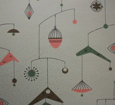 Vintage Wallpaper 1950's Atomic Boomerang Mid by RosiesWallpaper, $14.00