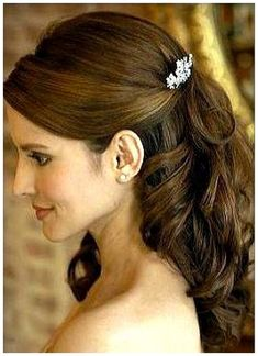 wedding hairstyles long hair half up half down veil