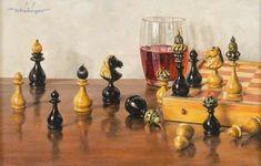 EICHINGER Oswald - Chess still-life Chess, Still Life, Painting, Germany, Oil, Board, Fotografia, Art, Gaming