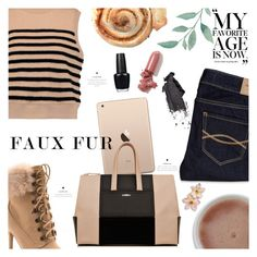 """""""Wow Factor: Faux Fur"""" by orietta-rose on Polyvore featuring T By Alexander Wang, Abercrombie & Fitch, Venus, La Perla, LAQA & Co., Bobbi Brown Cosmetics, OPI and fauxfur"""