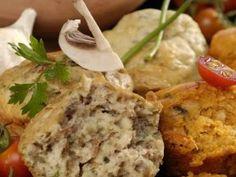 Fokhagymás, gombás és görögös muffin recept