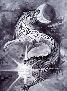 The two wolves from norse mythology that will devour the sun and the moon at ragnarök Skalli and Hati Viking Tattoo Symbol, Norse Tattoo, Celtic Tattoos, Viking Tattoos, Warrior Tattoos, Wolf Tattoos, Body Art Tattoos, 3d Tattoos, Tattoo Ink