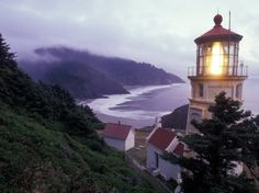 Foggy Day at the Heceta Head Lighthouse, Oregon, USA Photographic Print by Janis Miglavs at AllPosters.com